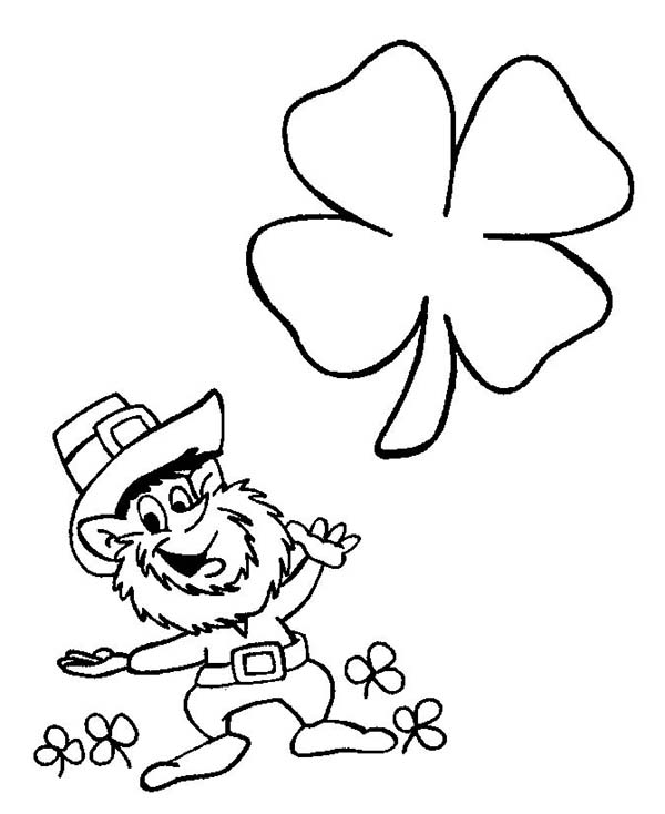 4 clovers and leprechaun coloring page