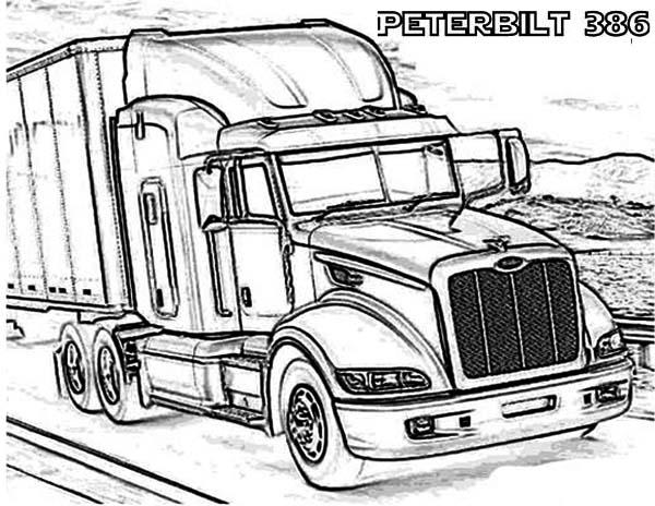 a peterbilt 386 semi truck coloring page
