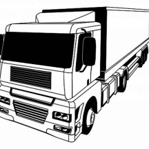 A Stylised Semi Truck Coloring Page