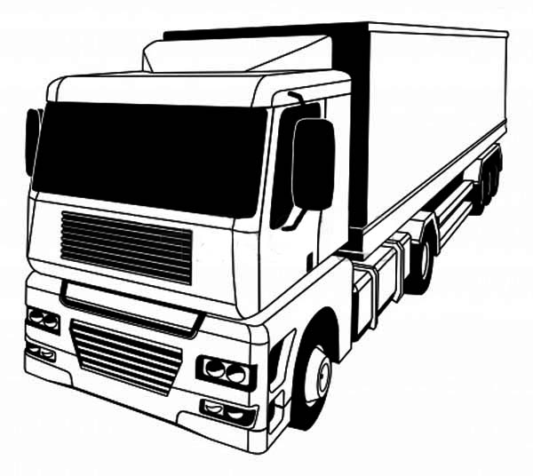 a stylised semi truck coloring page - Semi Truck Trailer Coloring Pages