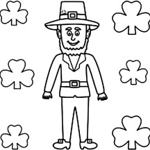 A Tall Leprechaun on St Patricks Day Coloring Page