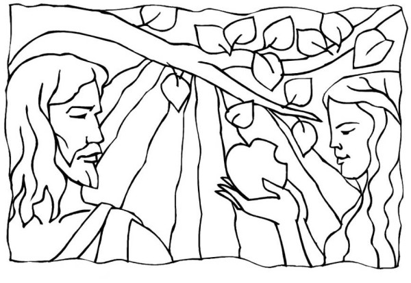 Adam And Eve Broke Commandment Of God In Garden Eden Coloring Page
