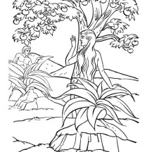 Adam and Eve Lived in the Garden of Eden Coloring Page
