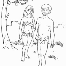 Adam and Eve was Forbid to Eat Fruit from Tree of Knowledge in Garden of Eden Coloring Page
