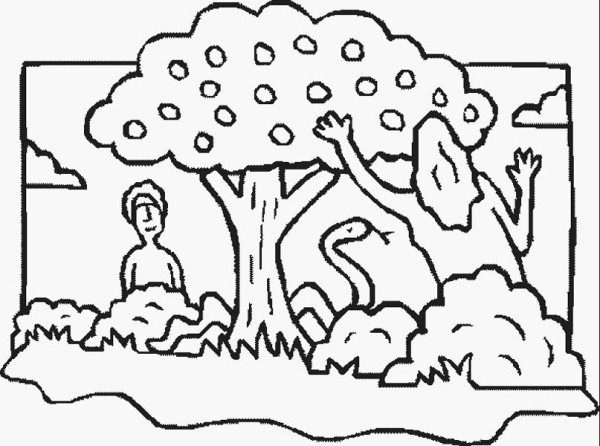 Adam and eve with the serpent near forbidden tree in for Garden of eden coloring page