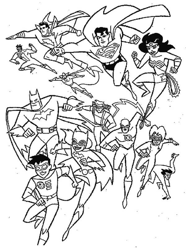 All Super Heroes in Super Hero Squad Coloring Page NetArt