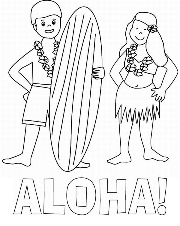 Aloha is Hawaiian Greet Coloring Page NetArt