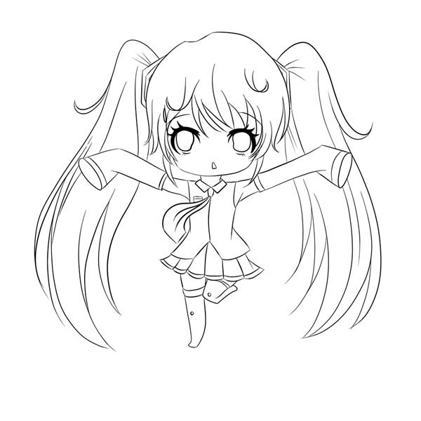 Amazing chibi drawing coloring page