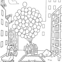 Amazing Flying House in Disney Up Coloring Page