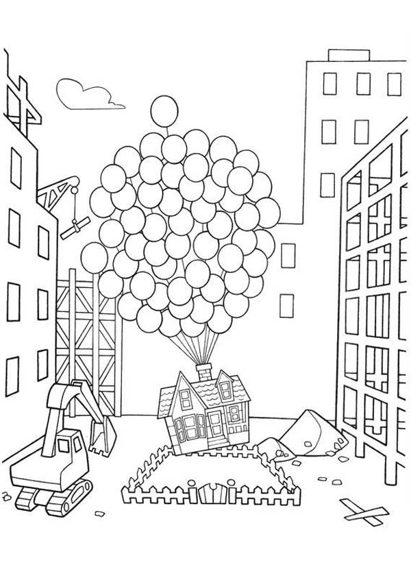 Amazing Flying House in Disney Up Coloring Page - NetArt