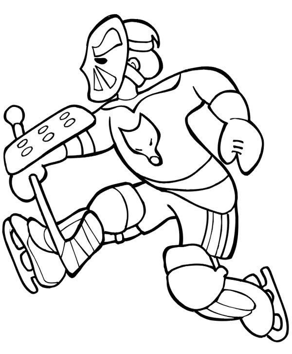 Amazing hockey goal keeper player coloring page netart for Hockey player coloring page