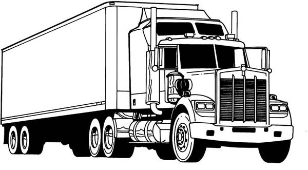 semi printable coloring pages | Amazing Semi Truck Coloring Page - NetArt