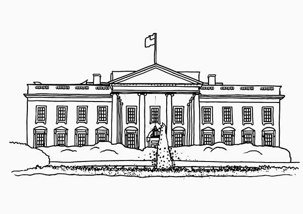 American White House in Houses Coloring Page