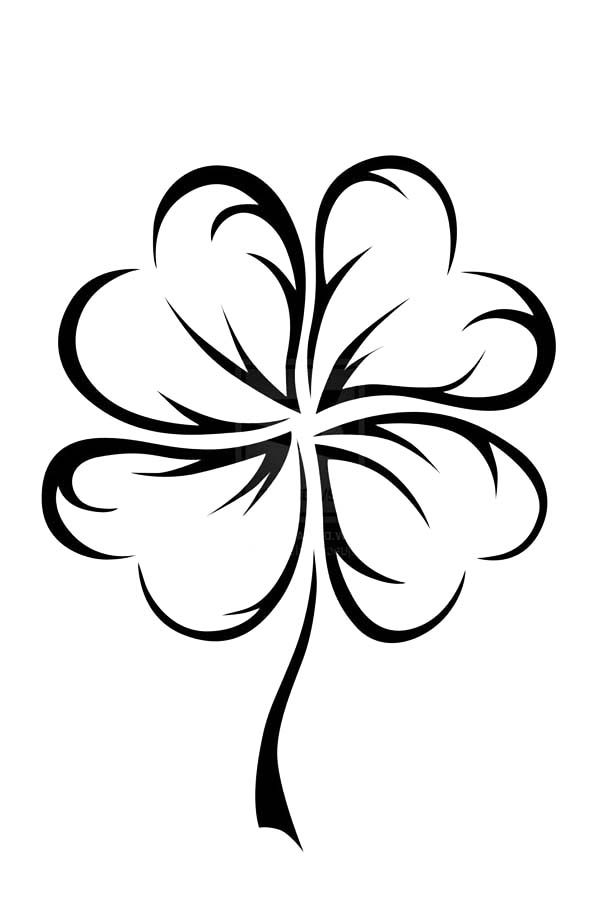 An Art Graphic Of Four Leaf Clover Coloring Page