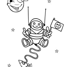 An Astronout Came Out from Spaceship Coloring Page