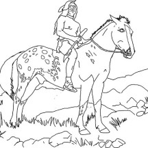 An Indian on the Horse in Horses Coloring Page