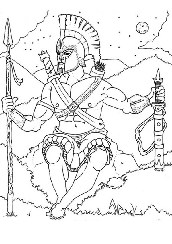 Ares from Greek Gods and Goddesses Coloring Page