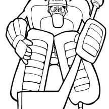 Awesome Hockey Goal Keeper Coloring Page