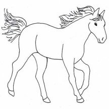 Awesome Horse Drawing in Horses Coloring Page