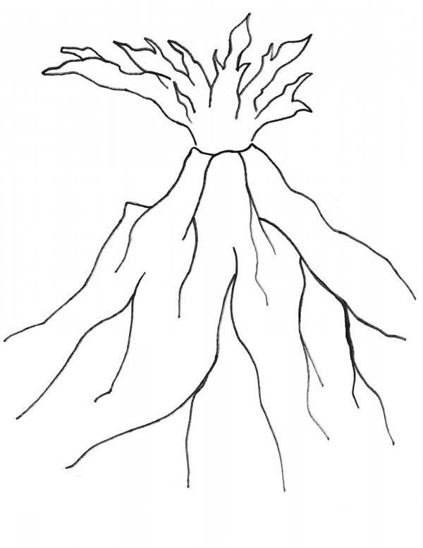 Awesome Volcano Coloring Page