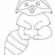 Baby Raccoon Laugh Coloring Page