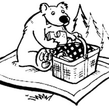 Bear Eating Picnic sandwich Coloring Page