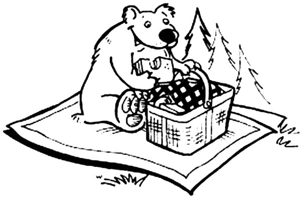 Coloring Page Of Bear Eating Coloring Pages