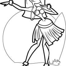 Beautiful Hawaiian Hula Dancer Coloring Page