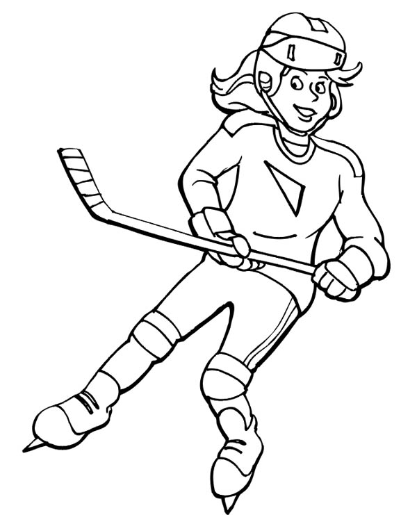 Beautiful hockey player coloring page for Hockey player coloring page