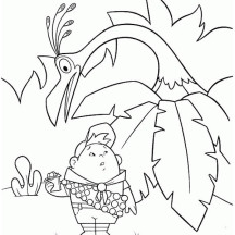Beautiful Russell and Kevin the Bird in Disney Up Coloring Page