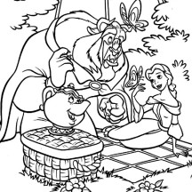 Beauty and the Beast Picnic Day Coloring Page