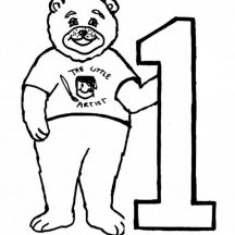 Big Bear and Number One Coloring Page