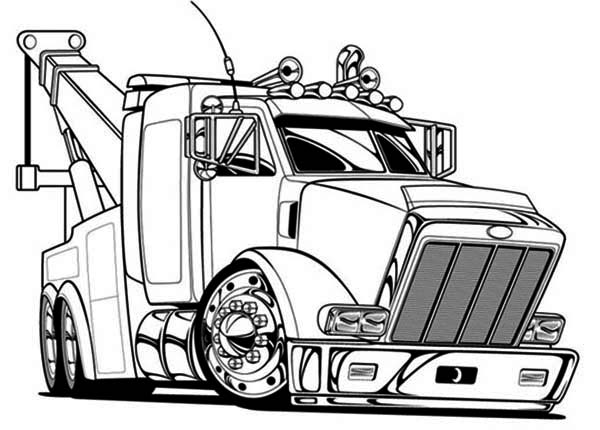 semi printable coloring pages | Big Tow Semi Truck Coloring Page - NetArt