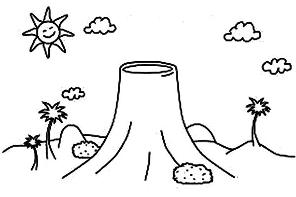 calm volcano coloring page - Volcano Coloring Pages