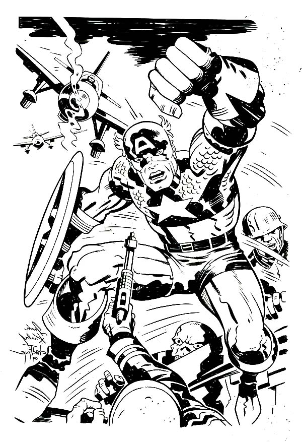 Captain America in One of Marvel Super Hero Squad Coloring Page - NetArt
