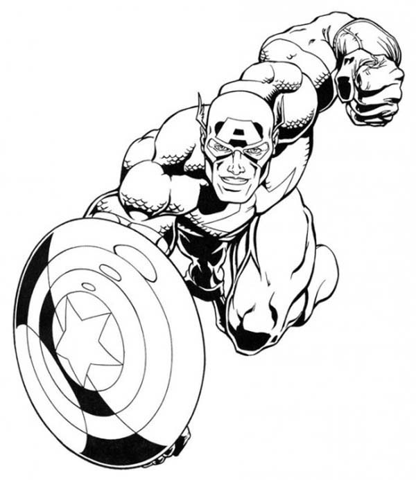 Captain America in Super Hero Squad Coloring Page NetArt