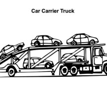 Car Carrier Semi Truck Coloring Page X