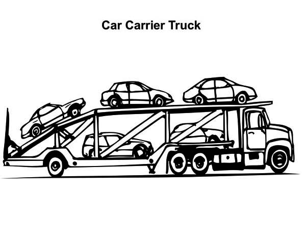 Car Carrier Semi Truck Coloring Page - NetArt