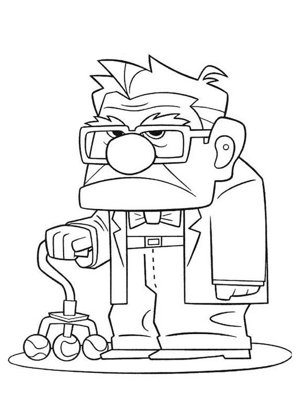 Carl Fredricksen Annoyed Face In Disney Up Coloring Page