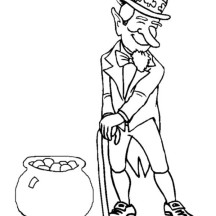 Celebrating St Patricks Day with Leprechaun Costume and Pot of Gold Coloring Page