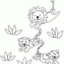 Cheetah Chased by Lion Drawing Coloring Page