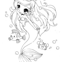 Chibi Little Mermaid and Her Friends Coloring Page