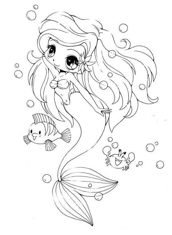 Chibi Little Mermaid and Her Friends Coloring Page NetArt