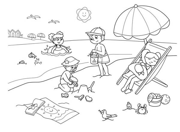 Children Enjoying Hawaiin Beach Coloring Page
