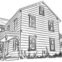 Cowboys Houses Coloring Page