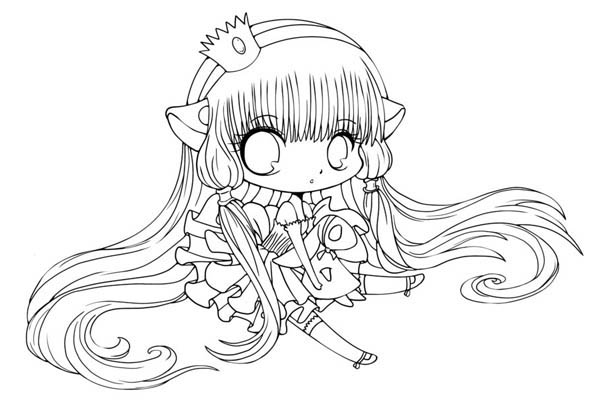 Cute Chi Chibi Drawing Coloring Page NetArt