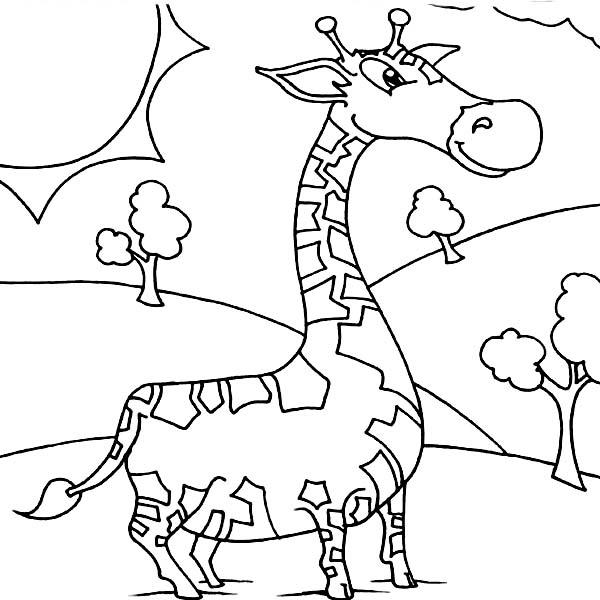 Cute Giraffe Coloring Page