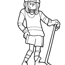 Cute Girl Hockey Player Coloring Page