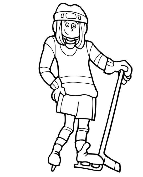 Cute girl hockey player coloring page netart for Hockey player coloring page