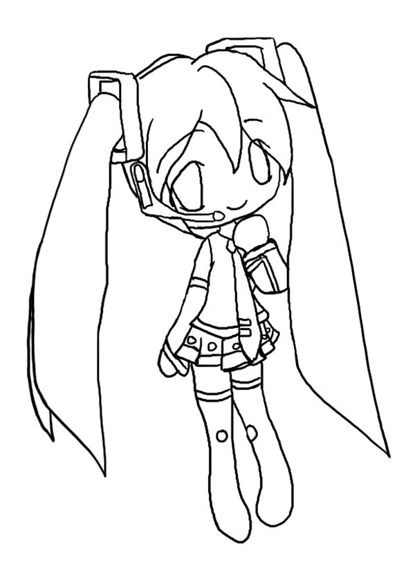 Cute Hatsune Miku Chibi Drawing Coloring Page - NetArt